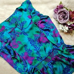 Express Gorgeous Jewel Tone Floral Silky Blouse